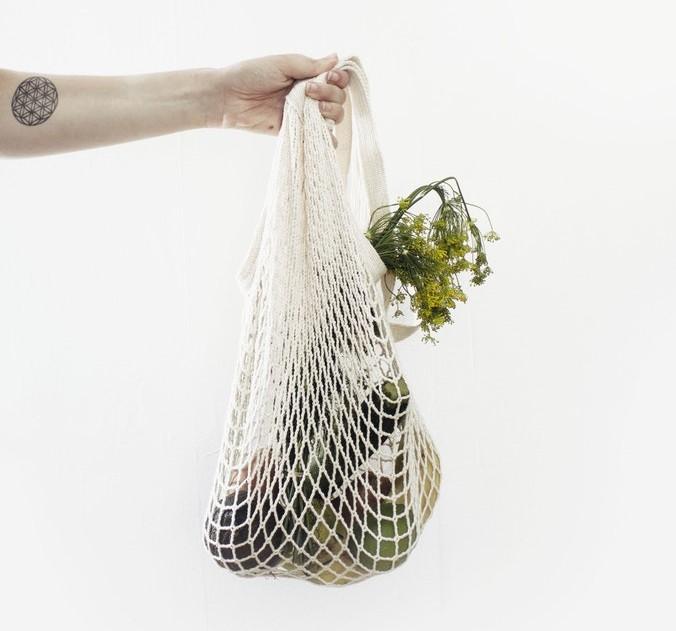 Lebensmittel in Stoffnetz